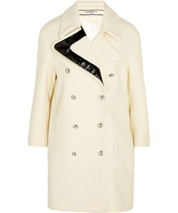 Bouchra Jarrar | Faux Patent Leather-Trimmed Wool Coat