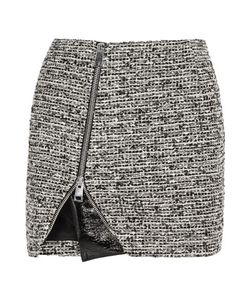 Bouchra Jarrar | Wool-Blend Tweed And Faux Patent-Leather Mini Skirt
