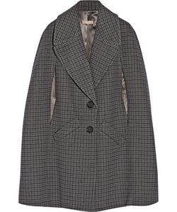 Michael Kors Collection | Houndstooth Melton Wool Cape