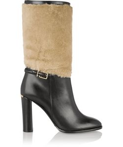 Burberry London | London Shearling-Paneled Leather Boots