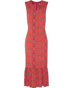 Suno | Pleatedprint Stretch-Silk Crepe De Chine Midi Dress