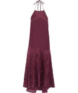 Tibi | Carmen Crochet-Paneled Cotton And Silk-Blend Halterneck Midi Dress