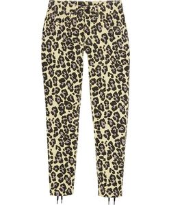 Sibling | Leopard-Print Lace-Up Mid-Rise Slim-Leg Jeans
