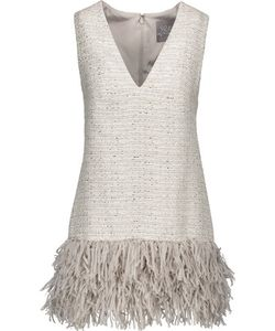 Lela Rose | Fringed Metallic Tweed Top