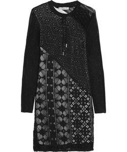 Sandro | Riviera Lace-Paneled Crochet-Knit Mini Dress