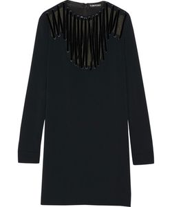 Tom Ford | Velvet-Trimmed Lace-Up Stretch-Cady Mini Dress