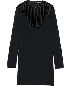 Tom Ford   Velvet-Trimmed Lace-Up Stretch-Cady Mini Dress