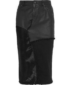 Tom Ford   Calf Hair Leather And Denim Skirt