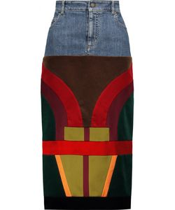 Tom Ford | Patchwork Velvet And Satin-Paneled Denim Midi Skirt