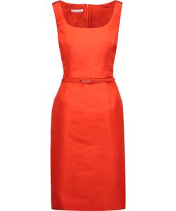 Oscar de la Renta | Belted Silk-Satin Twill Dress Bright