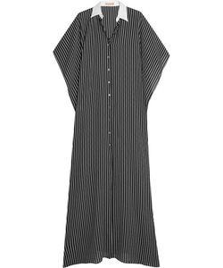 Michael Kors Collection | Oversized Pinstriped Silk Maxi Dress