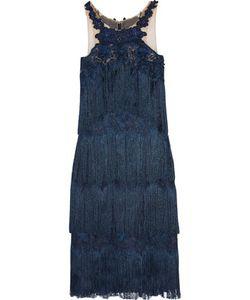 Marchesa Notte | Fringed Appliquéd Guipure Lace Dress