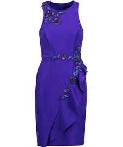 Marchesa Notte | Ruffled Appliquéd Stretch-Cady Dress