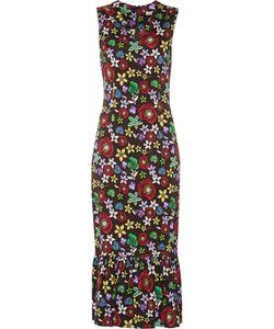 Suno | Pleatedprint Stretch-Silk Crepe De Chine Midi Dress