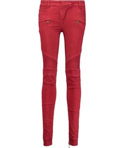 Balmain   Paneled Washed Cotton-Blend Skinny Pants