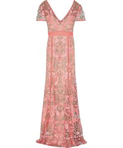 Marchesa Notte | Open Knit-Trimmed Lace Gown