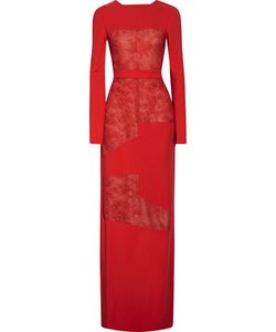 Antonio Berardi | Lace-Paneled Stretch-Cady Gown
