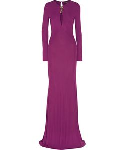 Roberto Cavalli   Cutout Embellished Stretch-Cady Gown