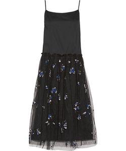 Suno | Cotton And Embroidered Tulle Midi Dress