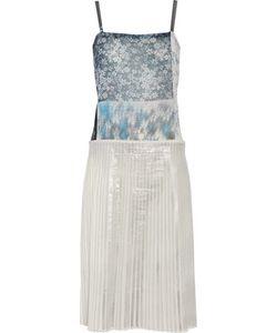 Mm6 Maison Margiela   Printed Chiffon And Plissé Cotton-Blend Dress