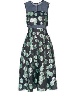 Lela Rose   Tulle-Paneled Pleated Fil Coupé Midi Dress