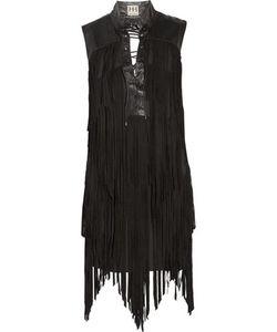 Haute Hippie   Fringed Lace-Up Suede Mini Dress
