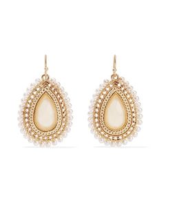 Kenneth Jay Lane | Tone Faux Pearl And Stone Earrings