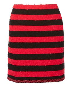 Sonia Rykiel | Faux Leather-Trimmed Striped Stretch-Bouclé Mini Skirt