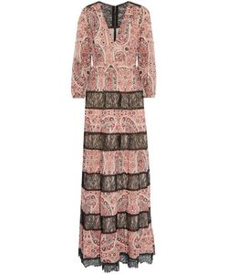 Alice + Olivia | Darren Lace-Paneled Printed Georgette Maxi Dress
