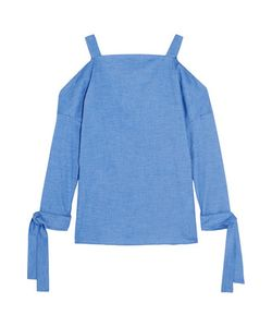 Tibi | Cutout Stretch-Cotton Chambray Top