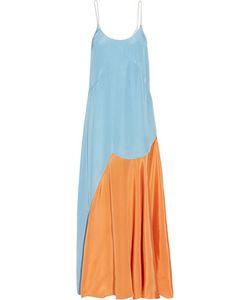 Roksanda | Blain Color-Block Silk-Blend Satin Maxi Dress