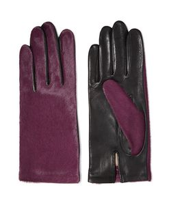 Agnelle | Two-Tone Calf Hair And Leather Gloves