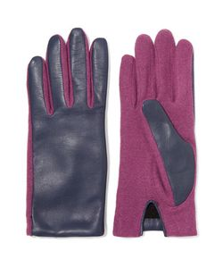 Agnelle | Two-Tone Wool-Blend And Leather Gloves