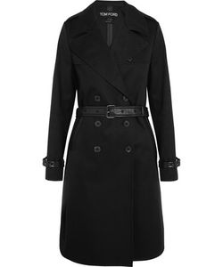 Tom Ford   Leather-Trimmed Cotton-Gabardine Trench Coat