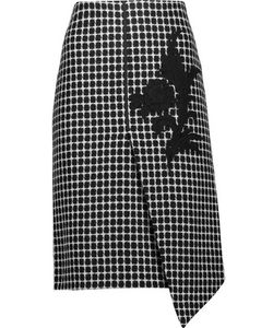 Raoul | Asymmetric Appliquéd Checked Wool-Blend Skirt