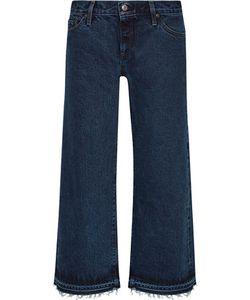 Simon Miller   Varra Low-Rise Cropped Frayed Wide-Leg Jeans Dark