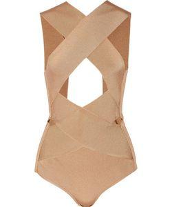 Balmain | Cutout Satin-Bandage Bodysuit