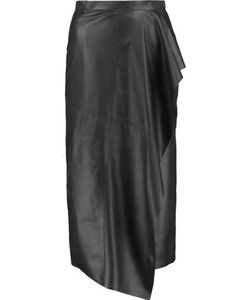 Vionnet | Draped Leather Wrap Midi Skirt