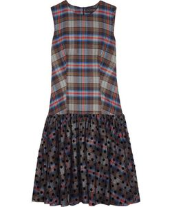 Paskal   Plaid Cotton-Blend And Polka-Dot Flocked Tulle Dress