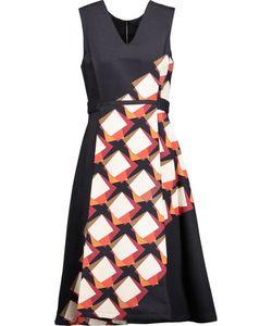 Suno | Pleated Printed Cotton-Blend Twill Midi Dress