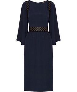 Vanessa Seward | Bella Embroidered Cotton And Washed-Silk Dress Midnight