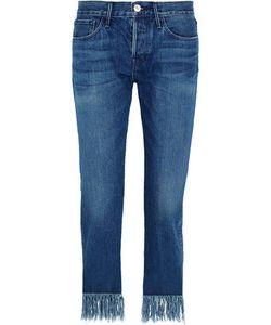3X1 | Wm3 Crop Fringe Mid-Rise Straight-Leg Jeans