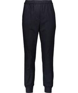 Adam Lippes | Satin And Velvet-Trimmed Stretch-Jersey Tapered Pants Midnight