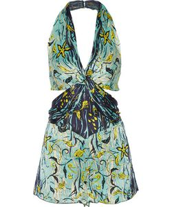 Anna Sui | Cutout Printed Silk-Crepon Playsuit