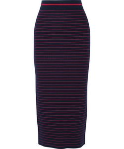 Tanya Taylor | Zena Striped Stretch Rib-Knit Midi Skirt Midnight