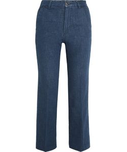 M.i.h Jeans | Coler Cropped Embroidered High-Rise Flared Jeans Dark