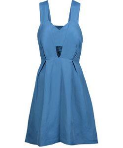 Sandro | Runy Cutout Pleated Chambray Mini Dress