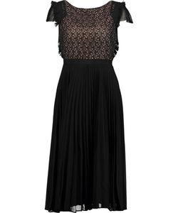 Saloni   Luella Cotton-Lace And Plissé-Chiffon Midi Dress
