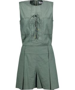 Derek Lam 10 Crosby | Lace-Up Linen-Blend Twill Playsuit Army