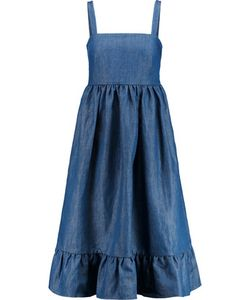 Co | Pleated Tton-Blend Chambray Dress